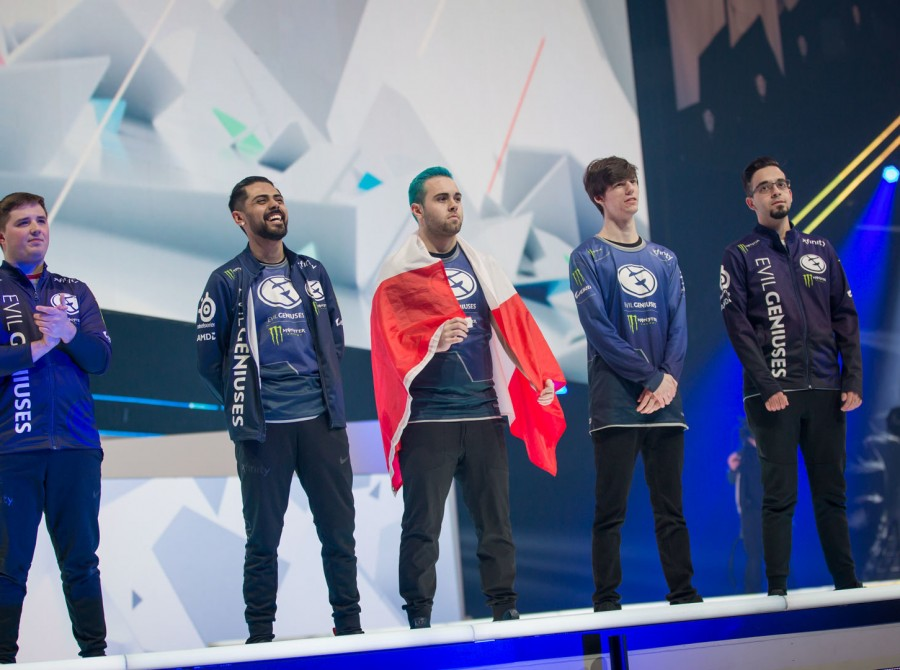 Photos of Evil Geniuses Rainbow 6 team as they play in the Rainbow 6 Siege Invitational in Montreal Canada at the Place Bell. Evil Geniuses finished 5th-8th after being knocked out in the Quarterfinals.