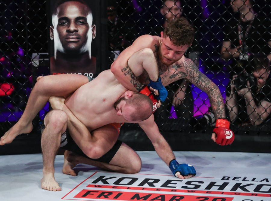 Monster Energy congratulates James Gallagher (Strabanimal) on defending Steven Graham via submission in the headliner of Bellator 217 at 3Arena in Dublin, Ireland via the Paramount Network. The rising Irish star returned to action in the bantamweight bout
