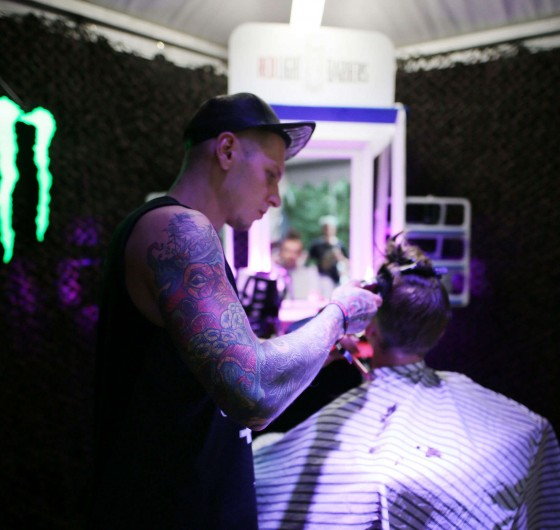 Rock and metal music festival - Devilstone. Monster Energy area with a mini ramp and bmx&skate sessions and barber shop.