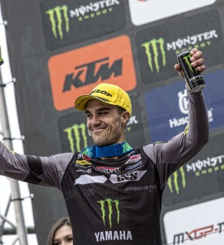 Paulin podium celebration 3rd position overall at MXGP Trentino 2019