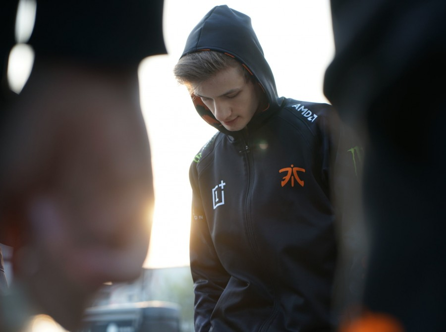 Fnatic League of Legends players as they play in their match against Splyce for their shot at playoffs in Rotterdam.