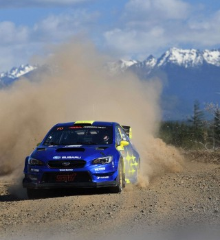 Images of Oliver Solberg competing at the 2019 Olympus Rally