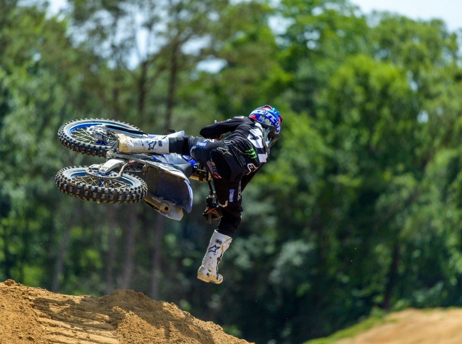 Justin Barcia rides a Yamaha 250 2-Stroke at his home track, Bam Land, on April 23, 2019 in Florida.