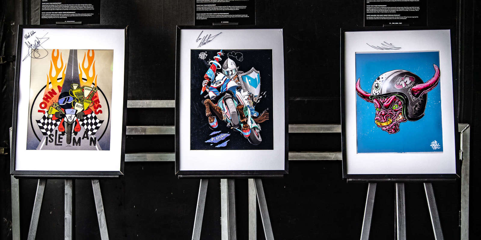 Images of Michael Dunlop signing the Monster commissioned fan giveaway artwork.