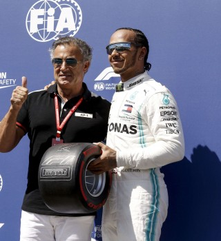 Former F1 driver Jean Alesi presents Lewis Hamilton with the Pirelli Pole Position Award - Images from the 2019 Formula 1 event at the Circuit Paul Ricard race track in Le Castellet, France