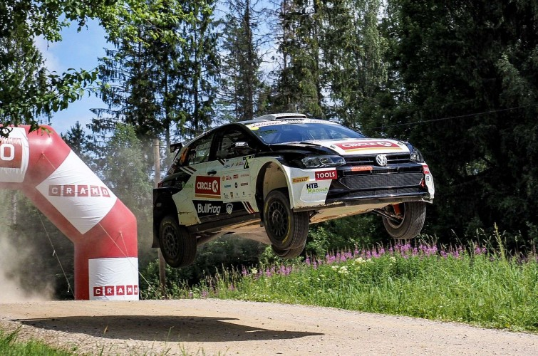 Images of Oliver Solberg competing at the 2019 Rally of Estonia