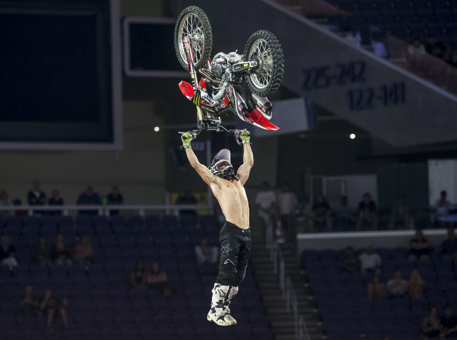 Monster athletes compete in the 2018 FMX Summer X Games in MinneapolisMonster ath