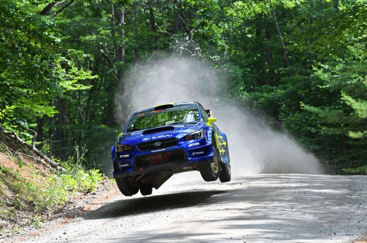 Images of Oliver Solberg competing in the 2019 New England Forest Rally