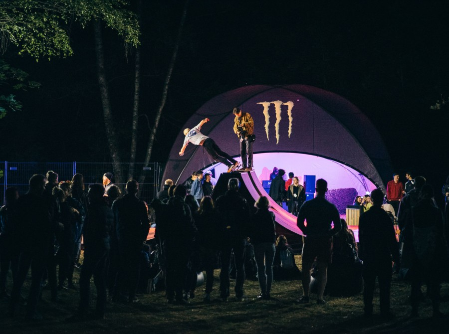 Photos from rock and metal festival Devilstone where guys from Lithuanian Skateboarding federation put on a shot on Monster Energy Miniramp