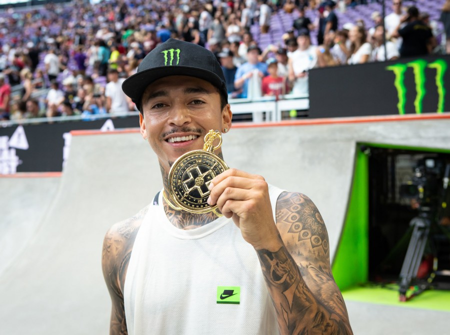 Images from the 2019 X Games Skate Best Trick in Minneapolis, Minnesota