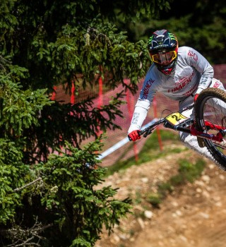 Images of PRACTICE and QUALIFICATIONS from the 2019 UCI Downhill mountain bike world cup in Lenzerheide Switzerland.