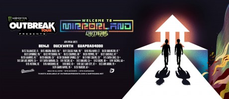 Monster Energy Outbreak Tour promotional assets for Earthgang mirrorland hip hop tour, including different image formats, PSD art file and announcement video