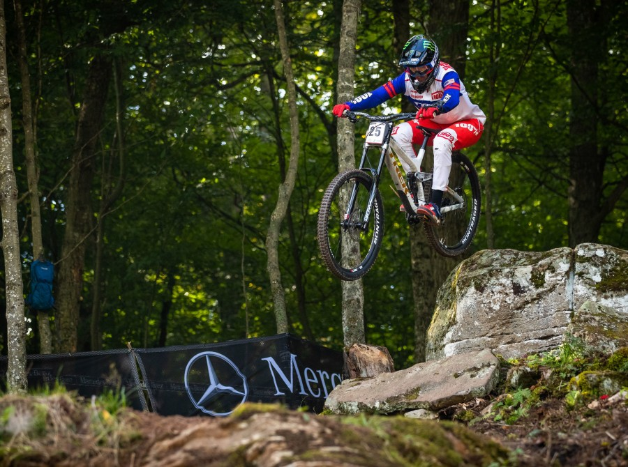 Images from Practice and Qualifier of the Mountain Trail bike Downhill World Cup of the 2019 season in Snowshoe, West Virginia.