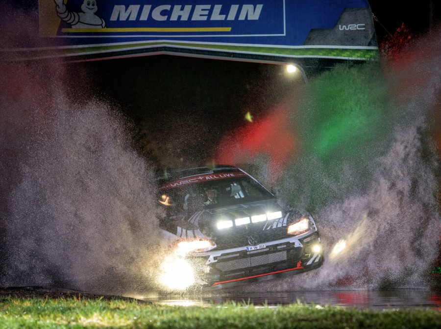 Images of Petter and Oliver Solberg competing at Wales Rally GB 2019