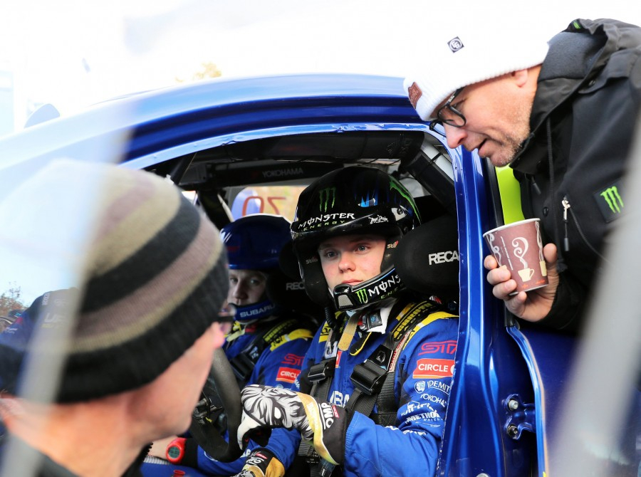 Images of Oliver Solberg competing in the 2019 Lake Superior Rally in Michigan