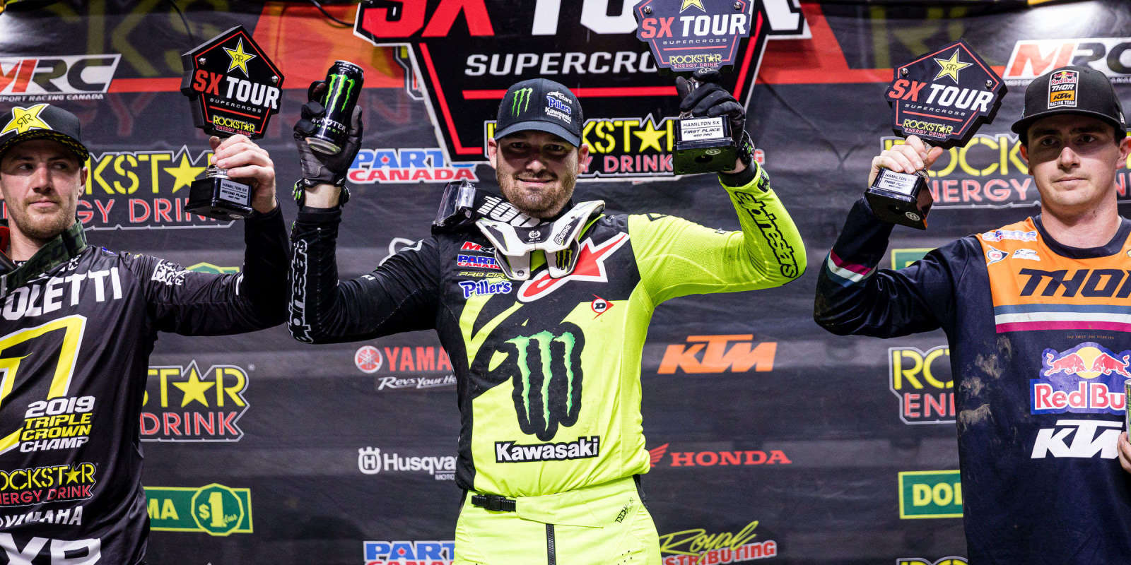 Action and podium shots from the Canadian Supercross finals in Hamiltopn, Ontario, Canada.