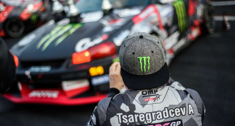 Action from the 4th stage of Russian Drift Series, Moscow Russia