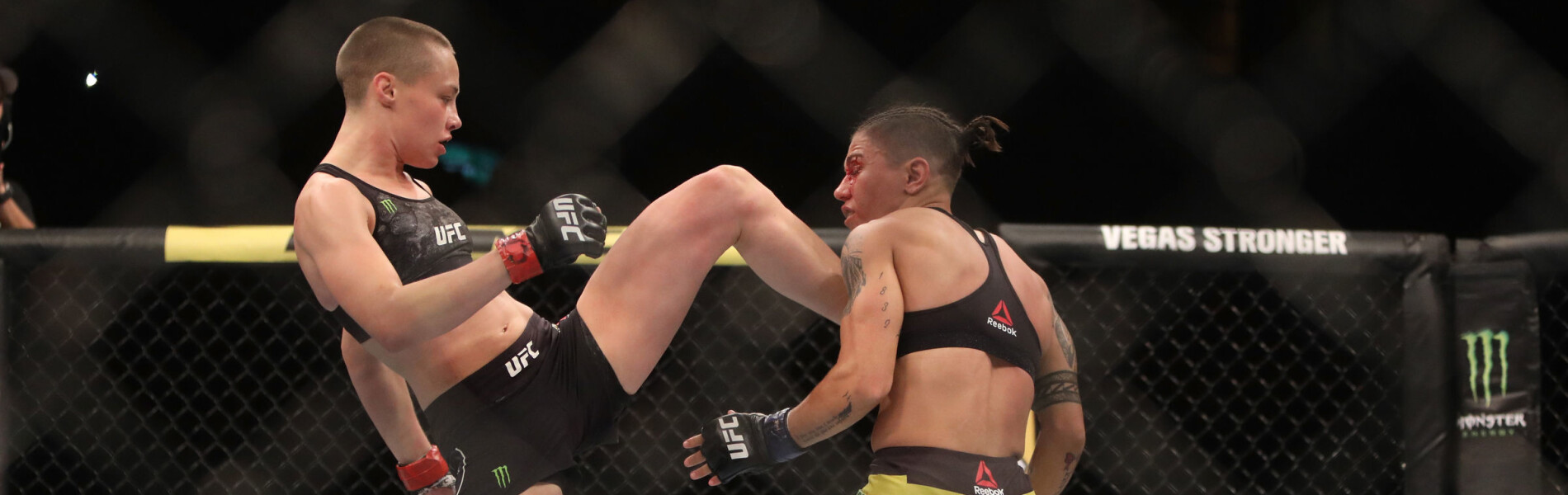 Rose Namajunas battles Jessica Andrade of Brazil during the UFC 237 event at Jeunesse Arena on May 11, 2019 in Rio de Janeiro, Brazil.