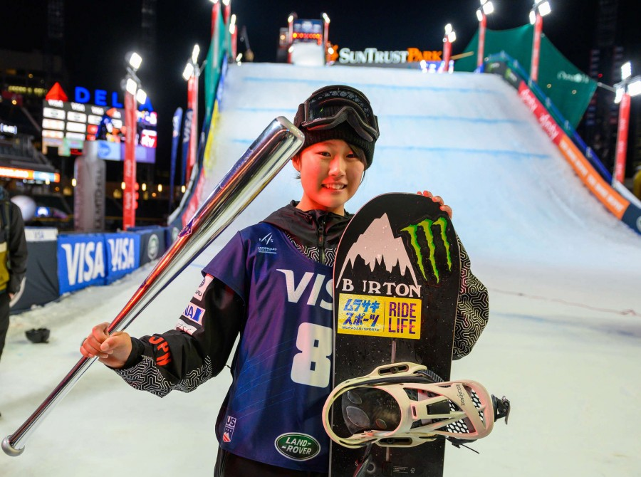 Images of Kokomo Murase from Atlanta Georgia finishing 2nd at the Big Air.