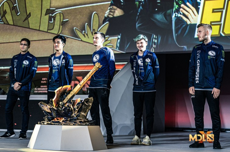 Photos of Evil Geniuses' Dota 2 team playing in the MDL major, the second Dota 2 Major of the Dota 2 Pro Circuit season. They placed 4th.