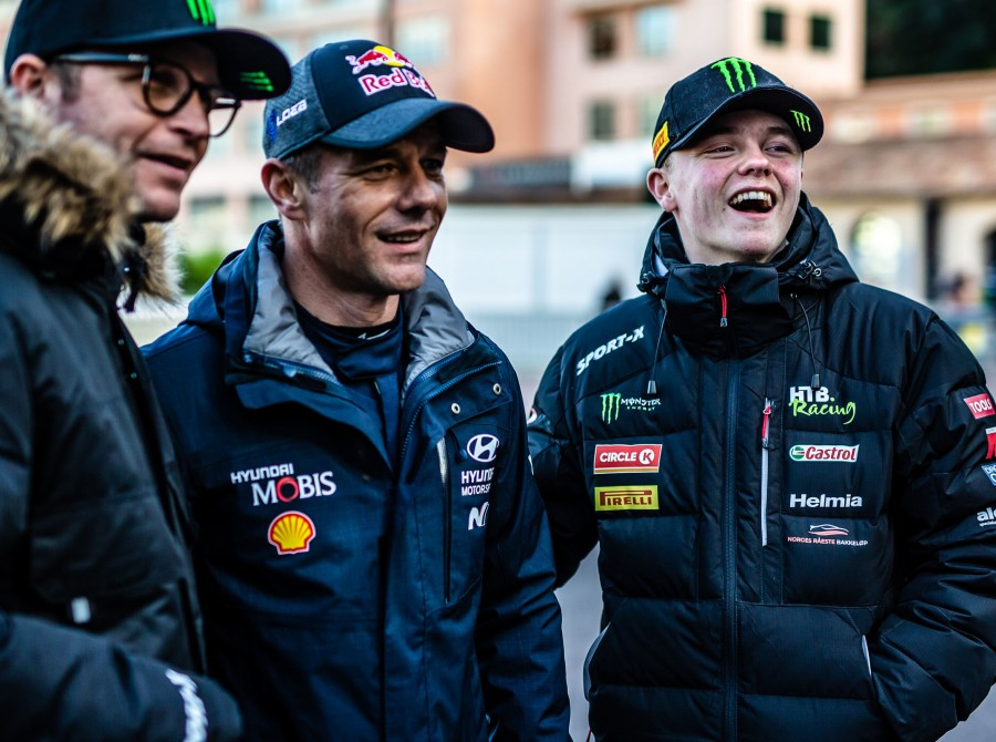 Images of Oliver Solberg at the 2020 WRC round in Monte Carlo - Petter Solberg, Sebastien Loeb, Oliver Solberg,