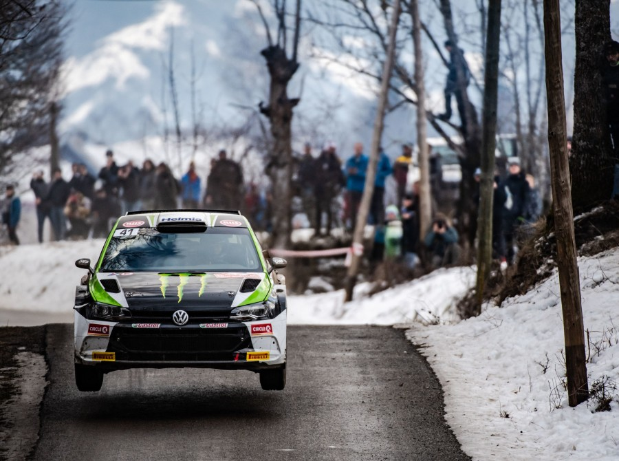 Images of Oliver Solberg at the 2020 WRC round in Monte Carlo