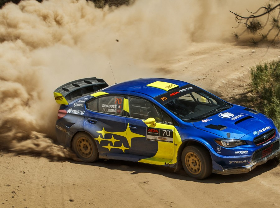 Images of Oliver Solberg competing at the Idaho Rally International