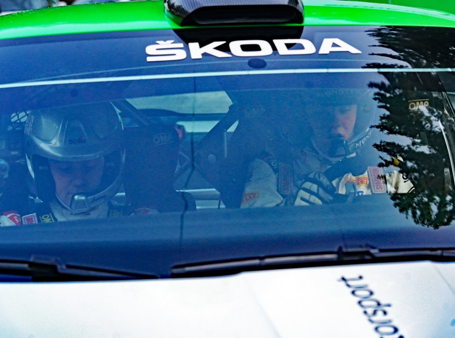 Oliver Solberg testing his new Skoda Fabia Rally2 evo