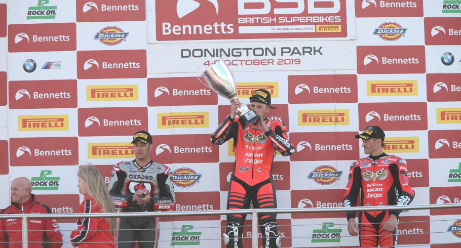 British Superbike shots of Scott Redding winning at Donnington Park
