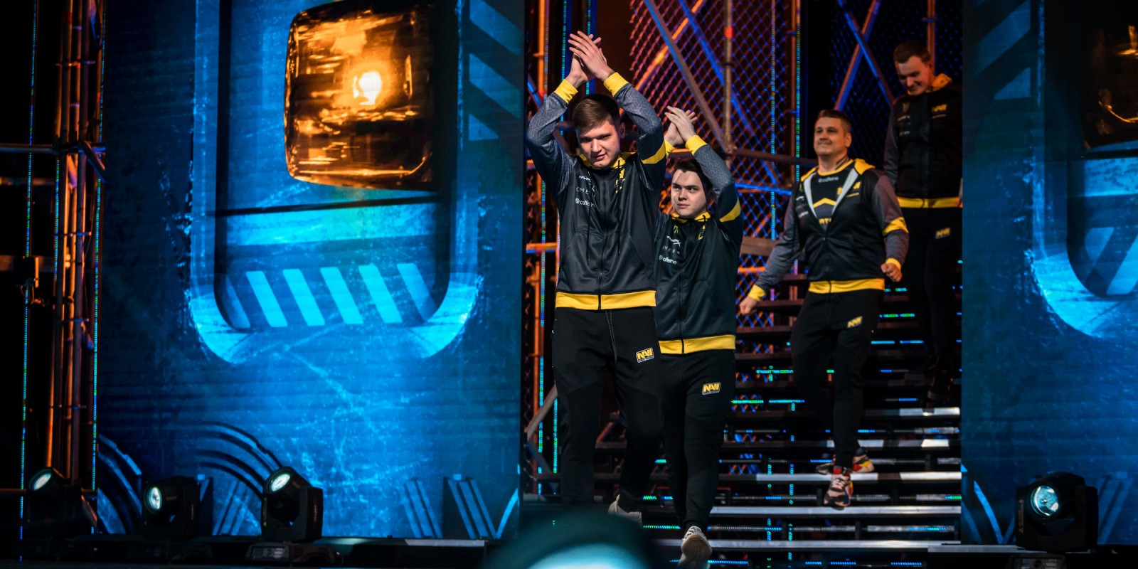 Photos of Natus Vincere's Counter-Strike Global Offensive team competing at the CSGO Major in Katowice Poland. The team placed 3rd/4th after being eliminated in the semi finals.