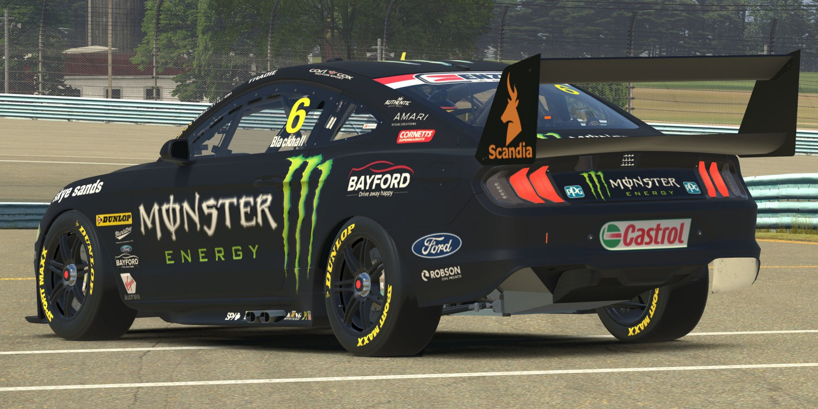 Monster Mustang in the Supercars E-Series during COVID19