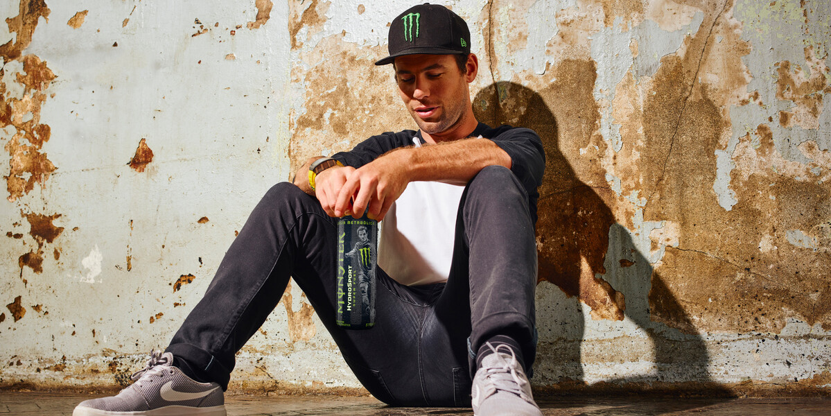 Images of Mark Cavendish with the new HydroSport bottle. Orginal image was taken by Nathan Gallagher in 2018, but our monster energy uk creative team added the hydrosport can.
