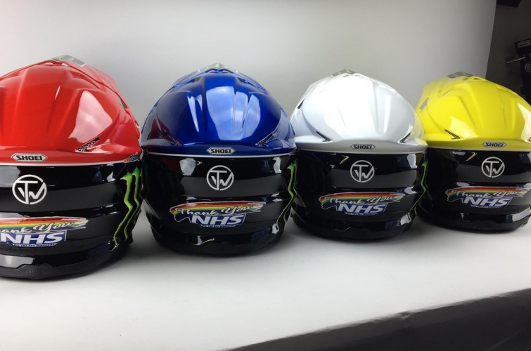 2020 images of Tai Woffinden's NHS tribute helmets