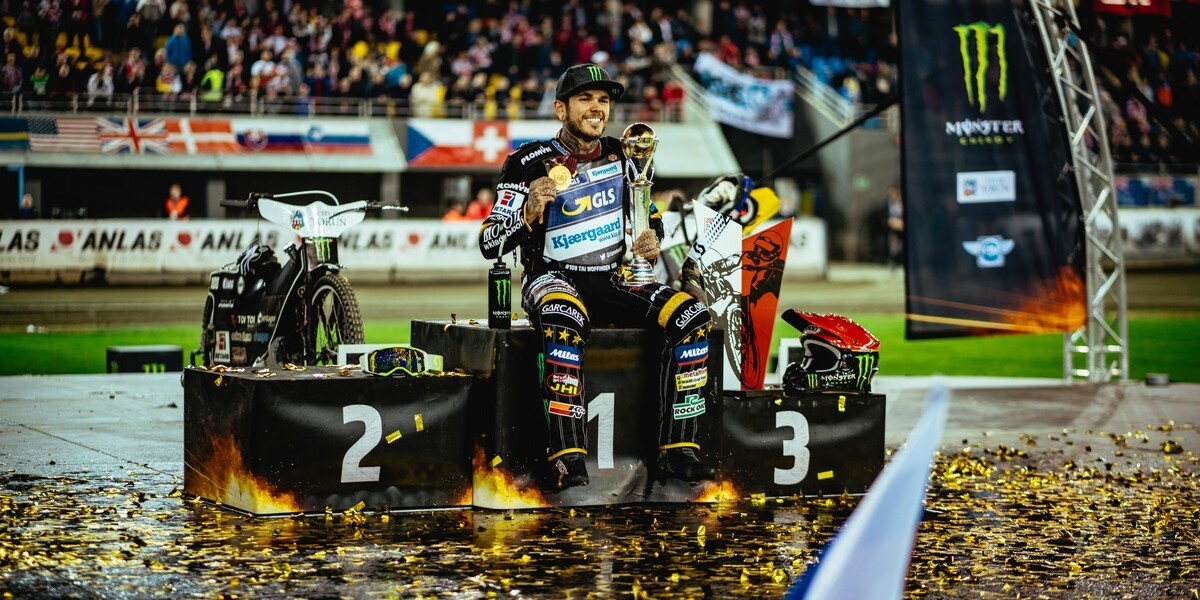 Images of Tai Woffinden's world championship win at the Torun SGP