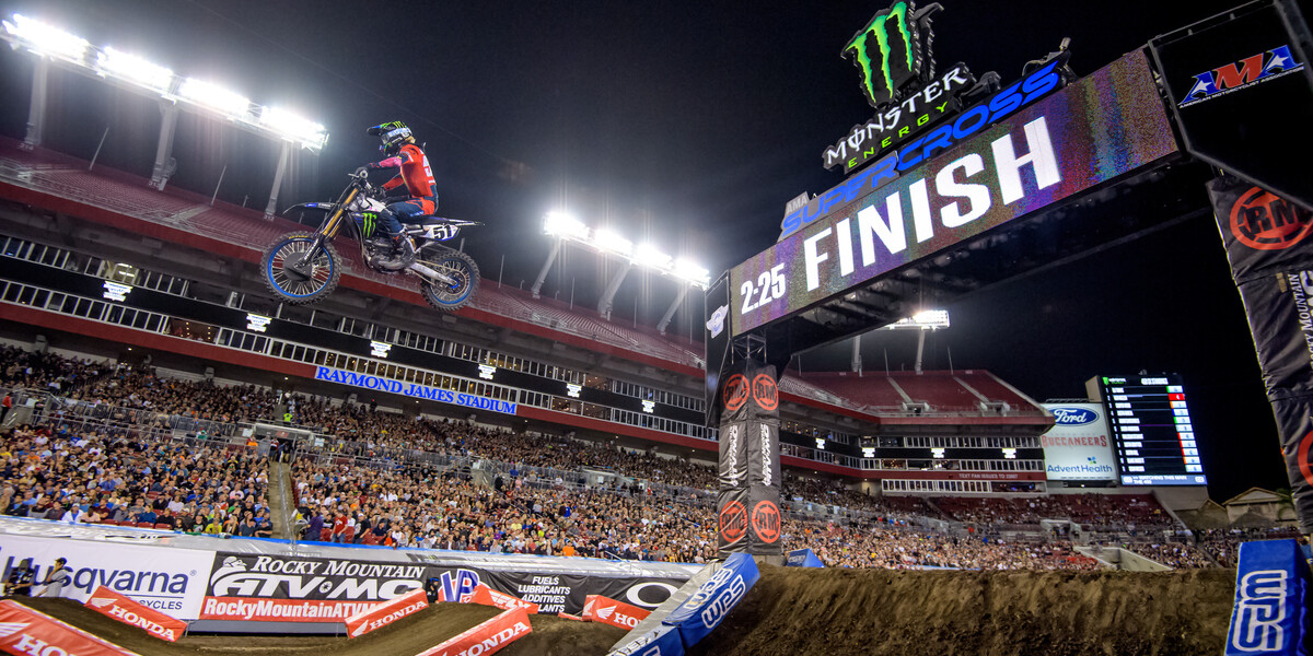 Images from the 2020 Monster Energy/AMA Supercross Series, in Tampa, Florida.