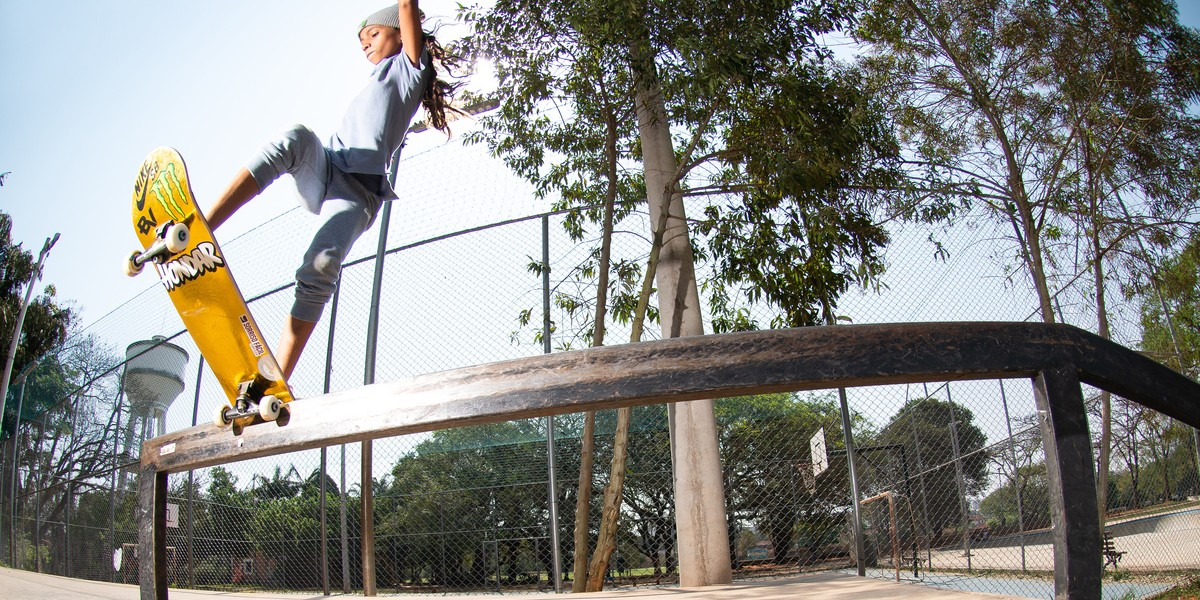 Shots of new Monster skater Rayssa Leal warming up at a park prior to Street League in Sao Paulo in Brazil
