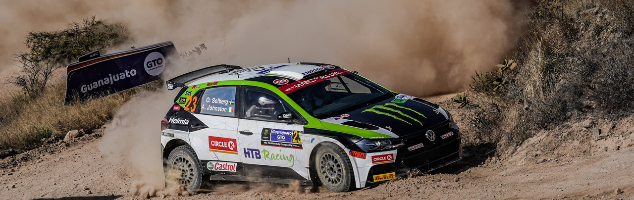 Images of Oliver Solberg competing at WRC Mexico 2020