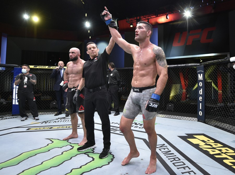 Images of Chris Weidman at UFC Fight Night on Saturday August 8, 2020 at UFC APEX in Las Vegas, Nevada.