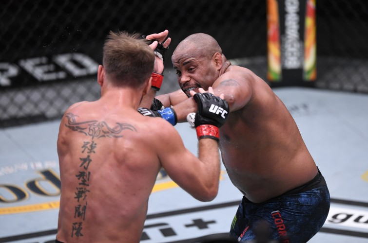 Daniel Cormier battles Stipe Miocic for the UFC Heavyweight Championship during the UFC 252 event at UFC APEX on August 15, 2020 in Las Vegas, Nevada.