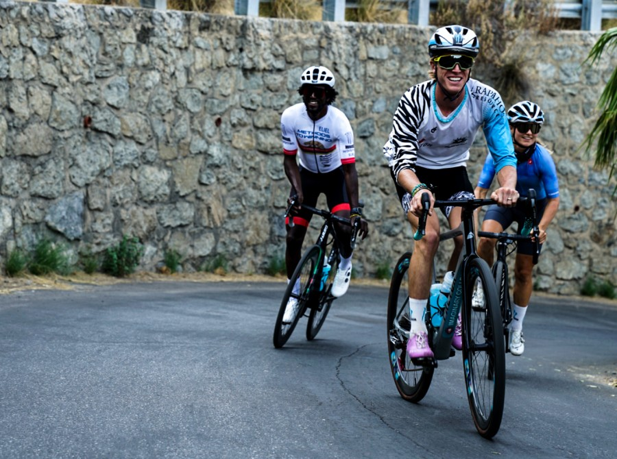 Hydro athletes riding bikes in different locations.