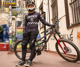 Images of Pedro Ferreira downhill BMX in Chile.