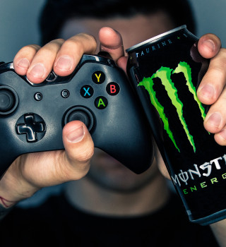 Photos of monster cans and controllers for social media use