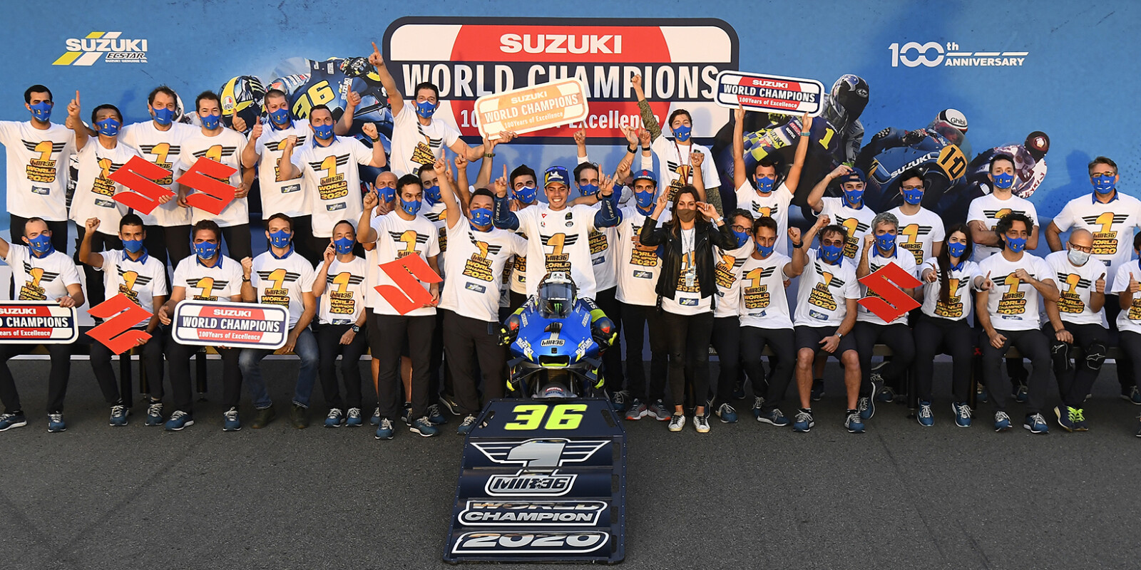 Celebration  images of Joan Mir and Suzuki after winning the 2020 MotoGP Championship