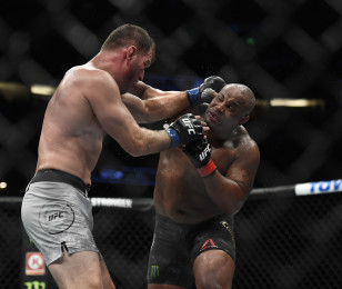 Daniel Cormier against Stipe Miocic during their heavyweight bout of UFC 241 event at Honda Center on August 17, 2019 in Anaheim, California.