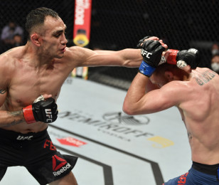 Tony Ferguson vs Justin Gaethje in their UFC interim lightweight championship fight during the UFC 249 event at VyStar Veterans Memorial Arena on May 09, 2020 in Jacksonville, Florida.