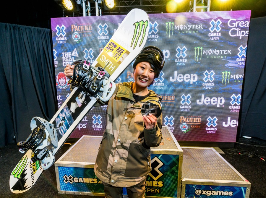 hi res shots of Kokomo Murase from the 2020 Winter X Games. Silver medal in Big Air.