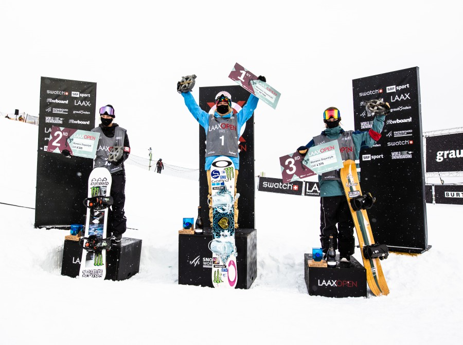 Laax Open Slope Finals Photos in Laax, Switzerland. finals and podium photos with Jamie 1st and Zoi 2nd