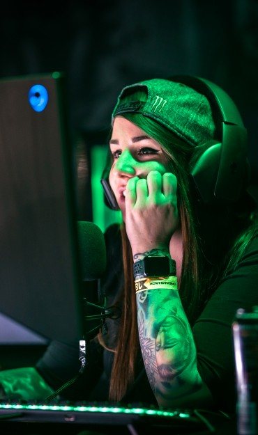 Photos of Miss Rage streaming at DreamHack Leipzig at the Monster Energy booth