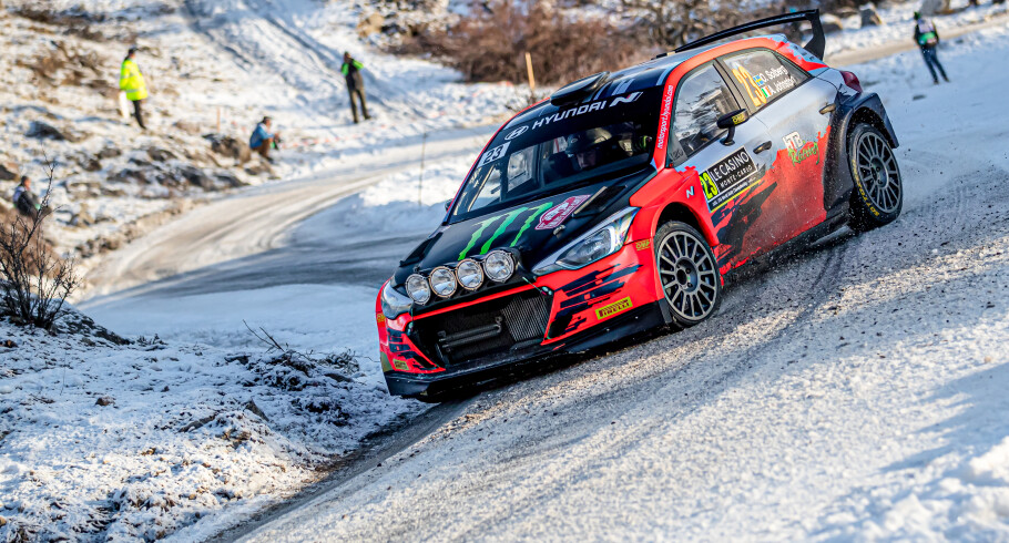 Images of Oliver Solberg competing in the 2021 WRC of Monte Carlo