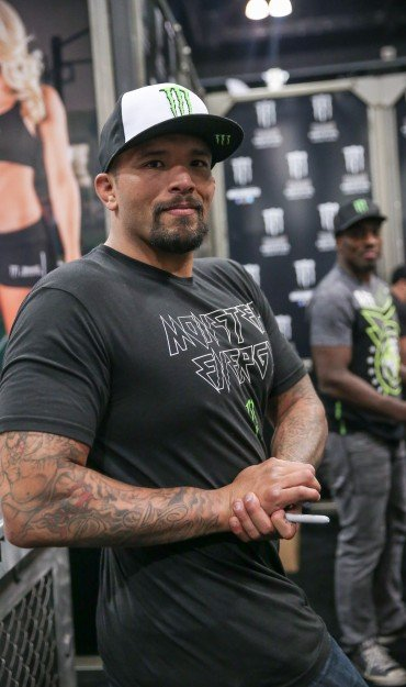Monster athletes attend the 2017 L.A. Fit Expo at the Los Angeles Convention Center in Downtown Los Angeles